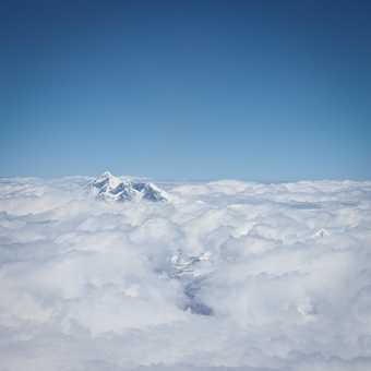 First Glimpse of Mount Everest from the aircraft