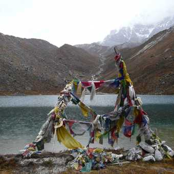 Lake Samiti 4330m and the steep incline behind where we walked in the dark the following morning on