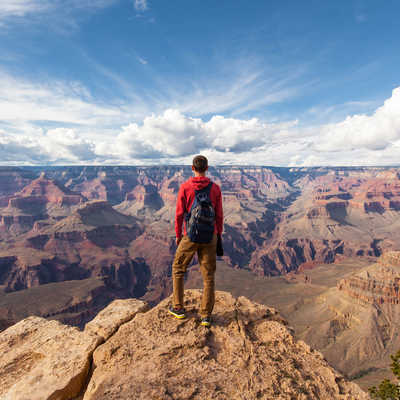 Solo traveller at the Grand Canyon USA
