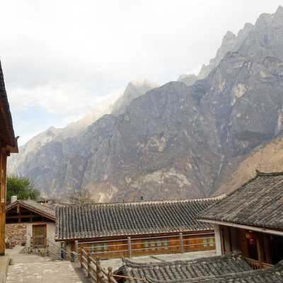 Views of Tiger Leaping Gorge from Tea Horse Guesthouse, China