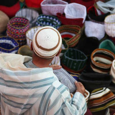 Hat seller in the souq