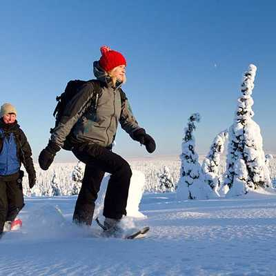 Snowshoeing through a frozen landscape. Riisitunturi National Park, Finland (photo by Erkki Ollila).