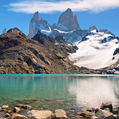 Mountain landscape with Mt Fitz Roy in Patagonia, South America