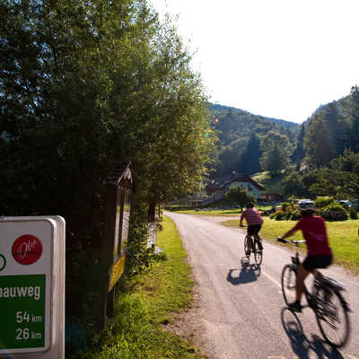 Cycling along the Danube, cycle sign, Austria