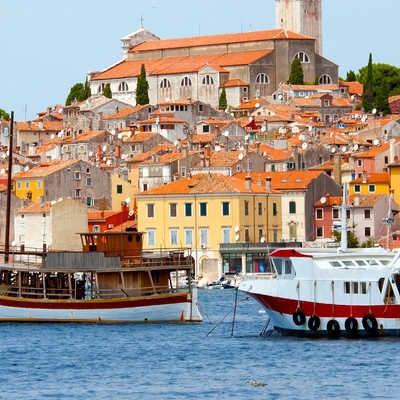 Sea port in city of Rovinj, Croatia