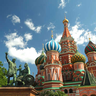 Monument to Minin and Pozharsky, Saint Basil's Cathedral, Moscow, Russia