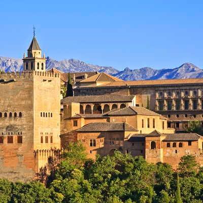 Alhambra Palace at sunset, Granada