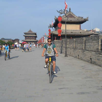Cycling along the city walls, Xi'an