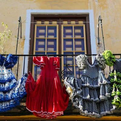 Traditional flamenco dresses