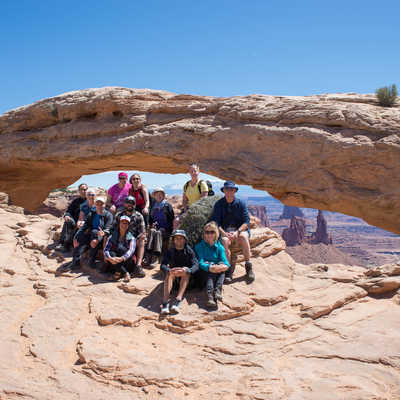 Exodus group at the Mesa Arch, Arches National Park