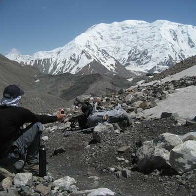 Resting on the way to Lenin Peak