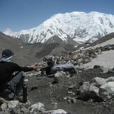 Resting on the way to Lenin Peak
