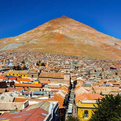 Cerro Rico and rooftops of Potosi, Bolivia