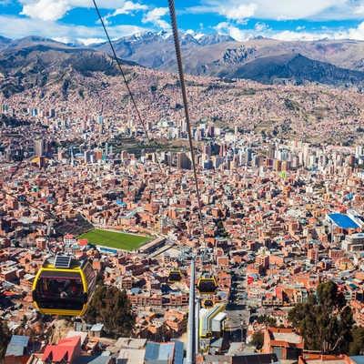 Cable car in La Paz city, El Alto, Bolivia