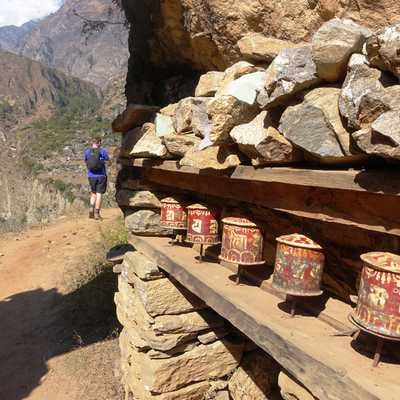 Prayer wheels between Deng and Ghap, Manaslu region, Nepal