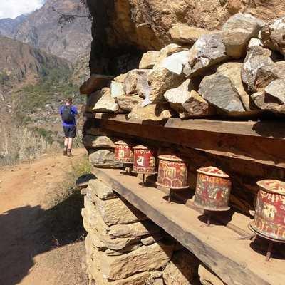 Prayer wheels between Deng and Ghap, Manaslu region, Nepal