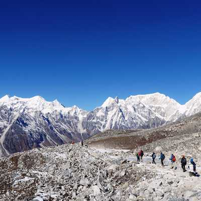 Descending from Larke La, Manaslu Lodge Circuit, Nepal