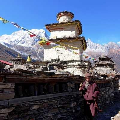 Chorten in Samagaon, Manaslu Trek, Nepal