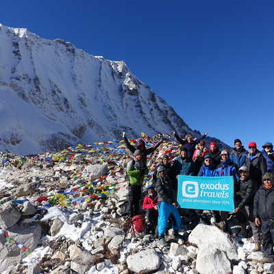 Exodus group on Larke Pass, Manaslu Trek, Nepal