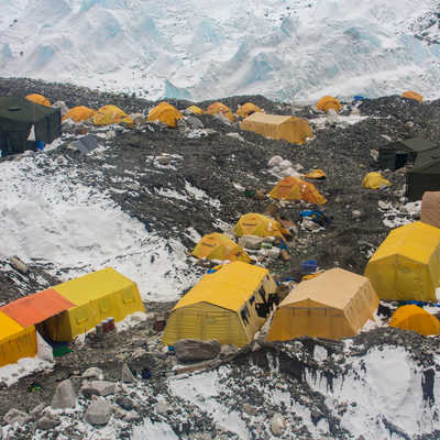 Expedition tents at Everest Base Camp in spring