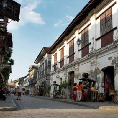 Calle Crisologo in Vigan, Ilocos Sur, Luzon. Philippines