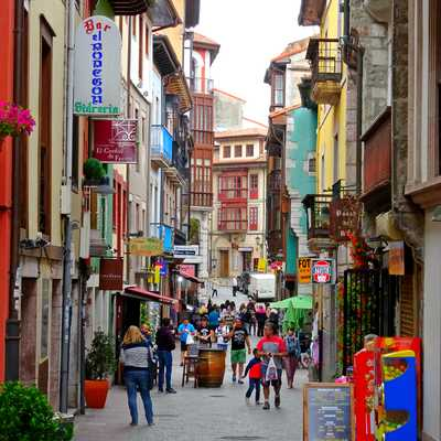 Colourful shopping street, Llanes