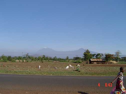 Day 6 On the road home. Kilimanjaro  (Left) Mawenzi  (Right)