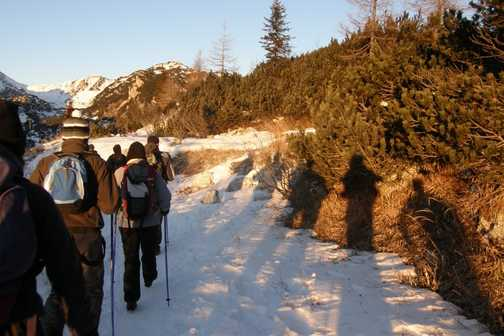 Setting out from our mountain hut, Dom na Komni