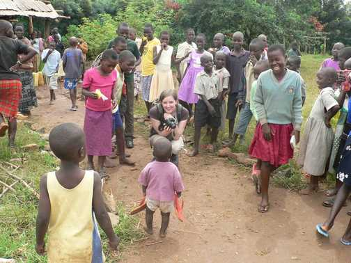 visiting a school in Uganda