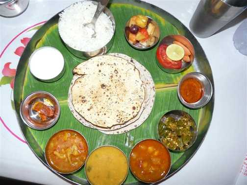 Lunch! A colourful and wonderful Thali.