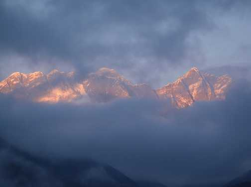 The clouds parted just in time for a sunset shot at Tengboche