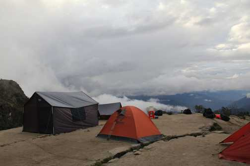 Idyllic site above Phuyupatamarca - shame about the clouds