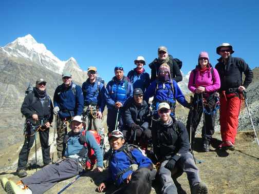 7/4 group on way to crampon and jumar training
