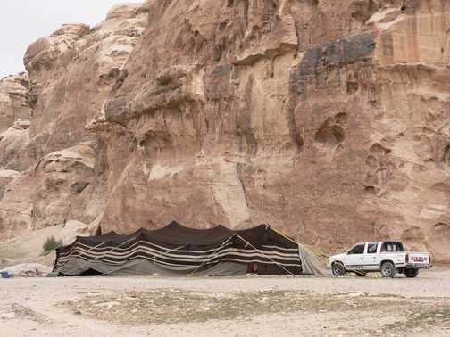 Bedouin camp with new transport