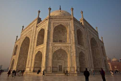 The intricate detailing of the Taj Mahal