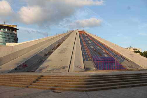 The Pyramid in Tirana, built to house Enver Hoxja's tomb  - it never did