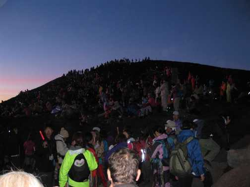 Made it - crowds on the summit of Mt Fuji