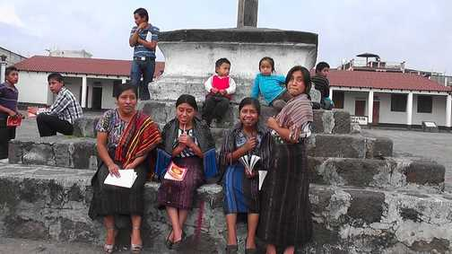 Locals in the square at Santiago Atitlan