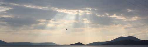 Sun going down over Lake Bafa