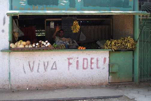 Fidel's fruit and veg stall.