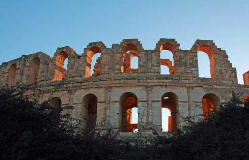 Roman amphitheatre at dusk
