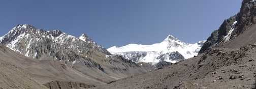 Upper Horcones Valley approaching basecamp at Plaza de Mulas (4350m) . Mount Cuerno in background