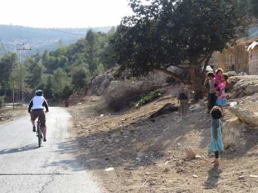 Cycling through a small village
