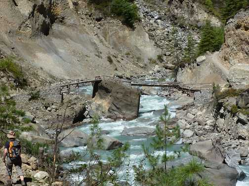 Typically Old Nepalese bridge spanning the river