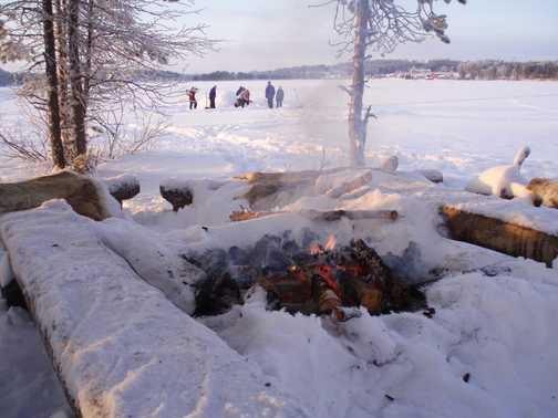 Warming up between igloo-building