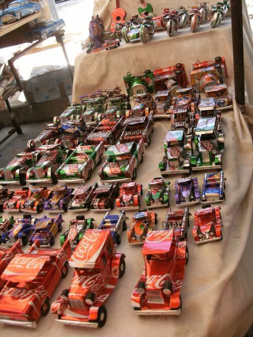 Cola cans recycled into cars Havana market