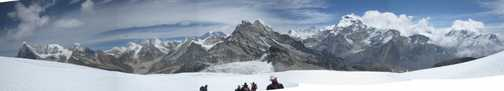 10/4 from start of descent from High camp - Everest in dist with cloud plume