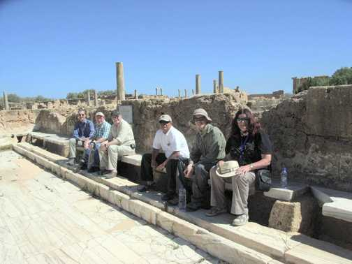 The group enjoying a moment at the Hadrianic Bogs, leptis magna