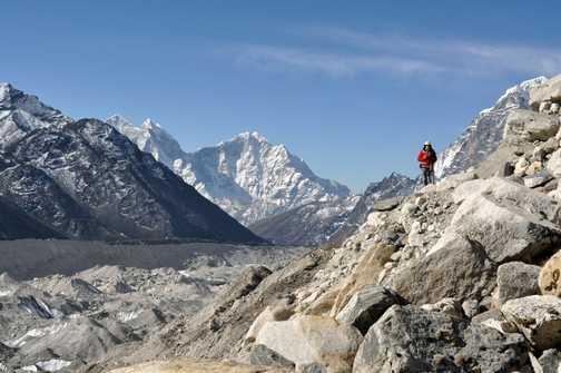Hiking beside the glacier