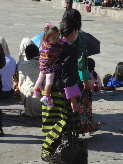 MOTHER & BABY AT THE THIMPHU FESTIVAL